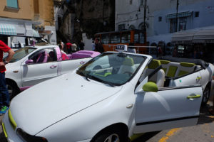 Fancy open-top taxis in Capri