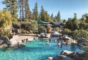 Soaking in Hanmer Springs hot mineral-rich waters