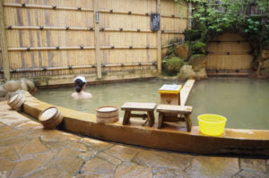 Relaxing in a thermal bath in Ikaho Onsen