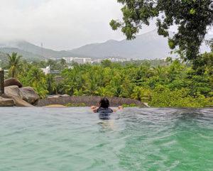 Relaxing in hot mineral spring pools at I-Resort Nha Trang, Vietnam