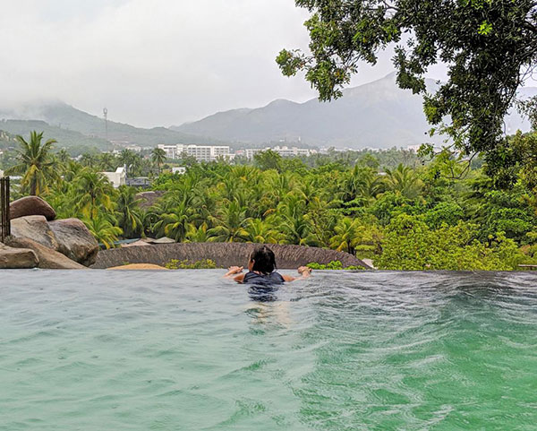 Relaxing in hot mineral spring pools at I-Resort Nha Trang, Vietnam
