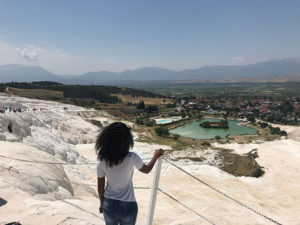 "The beautiful ""Cotton Castle"" formation at Pamukkale was formed by seventeen natural hot springs"