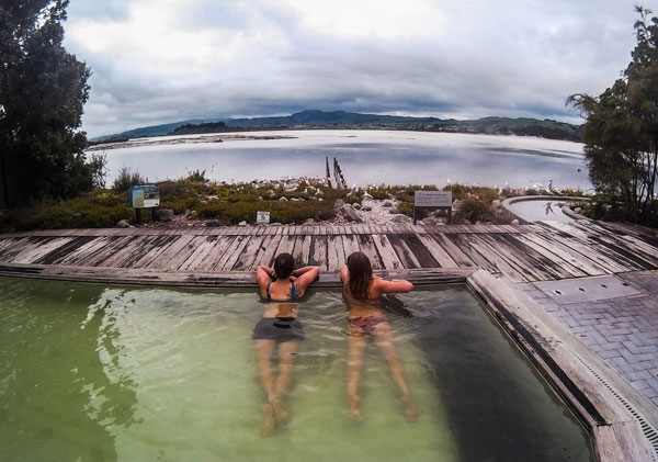 Chilling out in the hot thermal pools in Rotorua, New Zealand