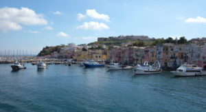 Arriving in Procida's Marina Grande on a ferry from Ischia