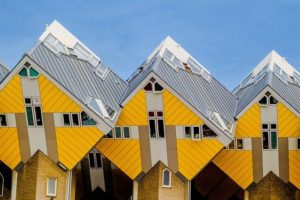The cube houses of the Overblaak Development in Rotterdam. Image by djedj from Pixabay.