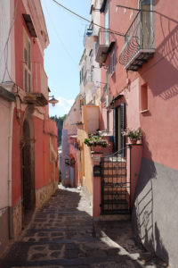 One of the gorgeous narrow lanes leading down to the harbour at Marina di Corricella