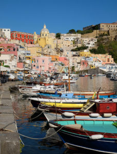 The Marina di Corricella is just as colourful from the harbourside
