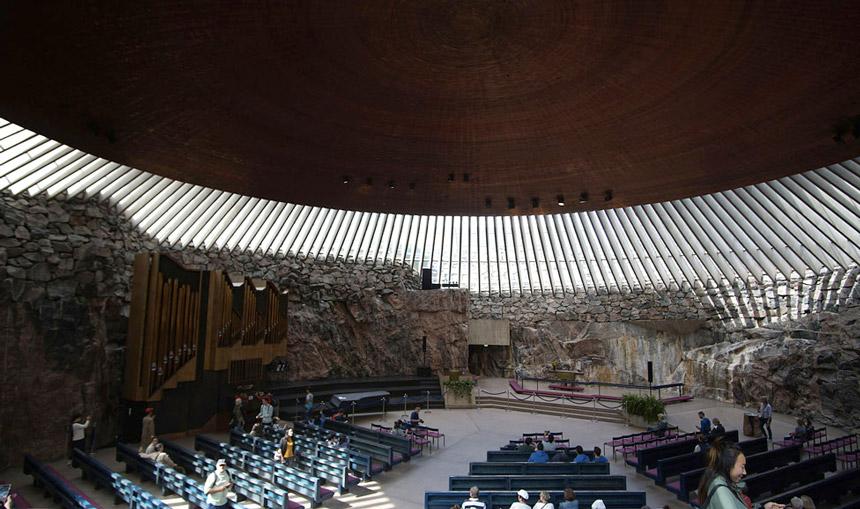 """Inside the Temppeliaukion """"Rock Church"""" in Helsinki"""
