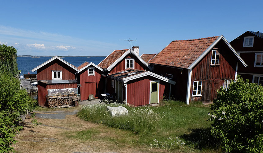 Traditional wooden houses in the Stockholm archipelago