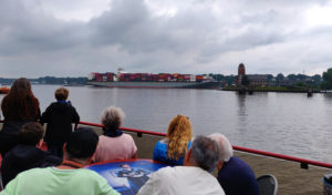 Leaving Finkenwerder ferry stop on the number 62 ferry