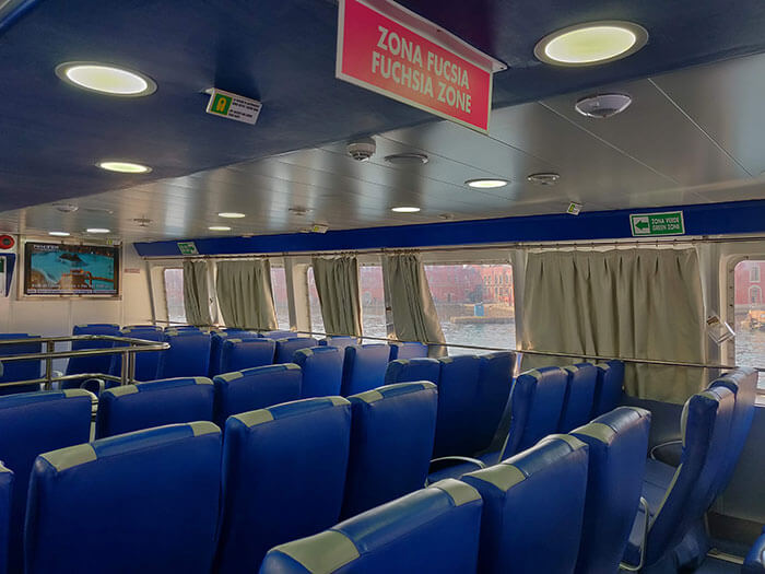 On board an Alilauro fast ferry