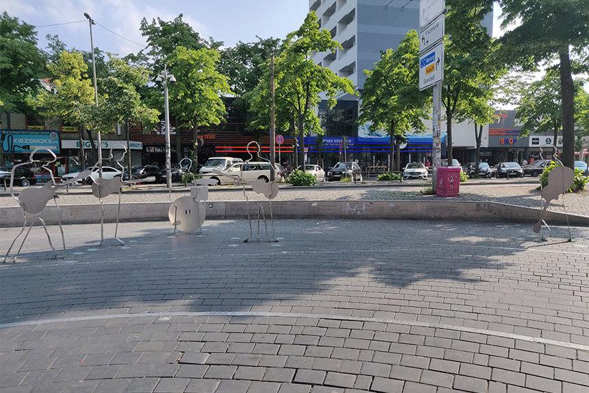 Beatlesplatz, on the Reeperbahn, commemorates the band's formative years in Hamburg