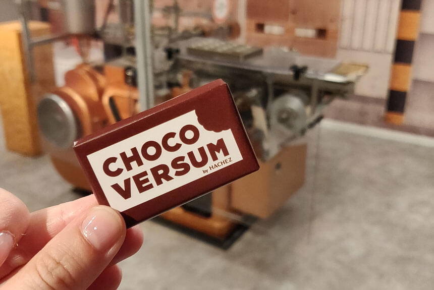 A mini bar of chocolate from the Chocoversum by Hachez chocolate museum and tour