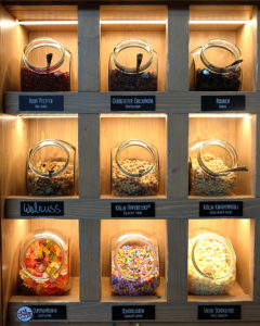 Step two. Choose your toppings. This is just one of the banks of possible toppings. Everything was labelled with dietary advice, e.g. which ingredients are vegan, nut-free or Halal.