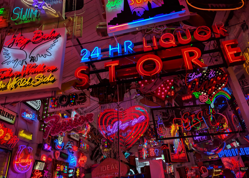 Just part of the amazing collection of neon signs at God's Own Junkyard