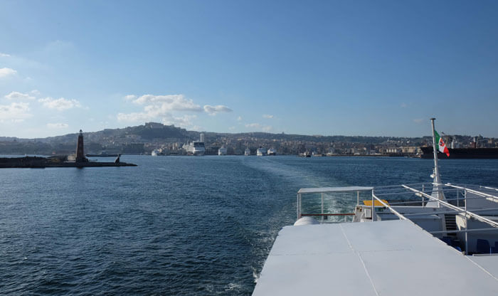 Leaving Naples on one of the cheapest ferries to Ischia