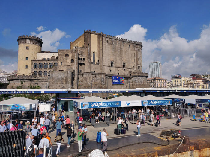 Molo Beverello at the Port of Naples. Fast hydrofoil and catamaran services to Ischia leave from this terminal.