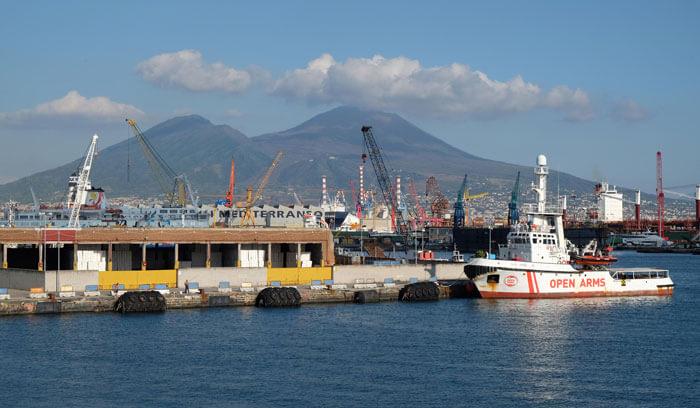 A great view of Mount Vesuvius from Naples Porta di Massa ferry terminal
