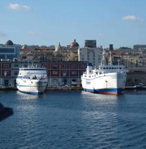 Sailing out of Naples Porta di Massa ferry terminal on our way to Ischia