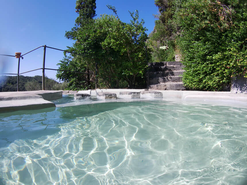 Relaxing in the Nesti series of pools at Negombo thermal spa, Ischia