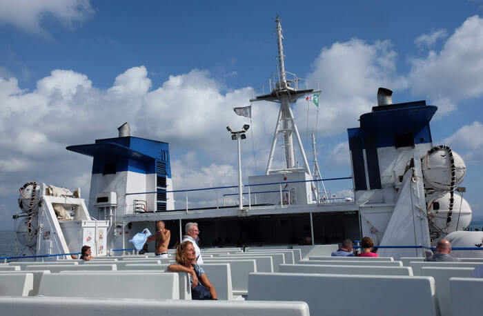 Enjoying the sunshine on deck