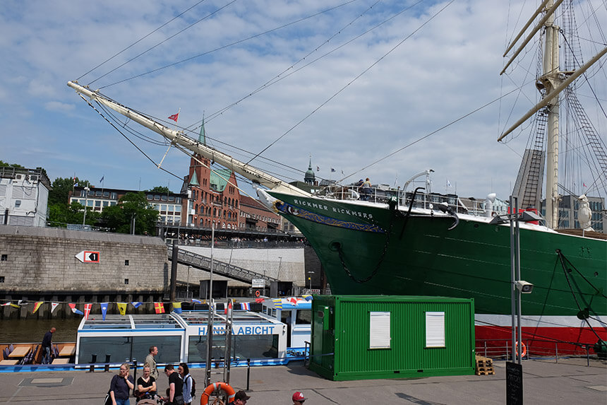 The sailing ship Rickmer Rickmers is just one of the historic ships you can visit in Hamburg