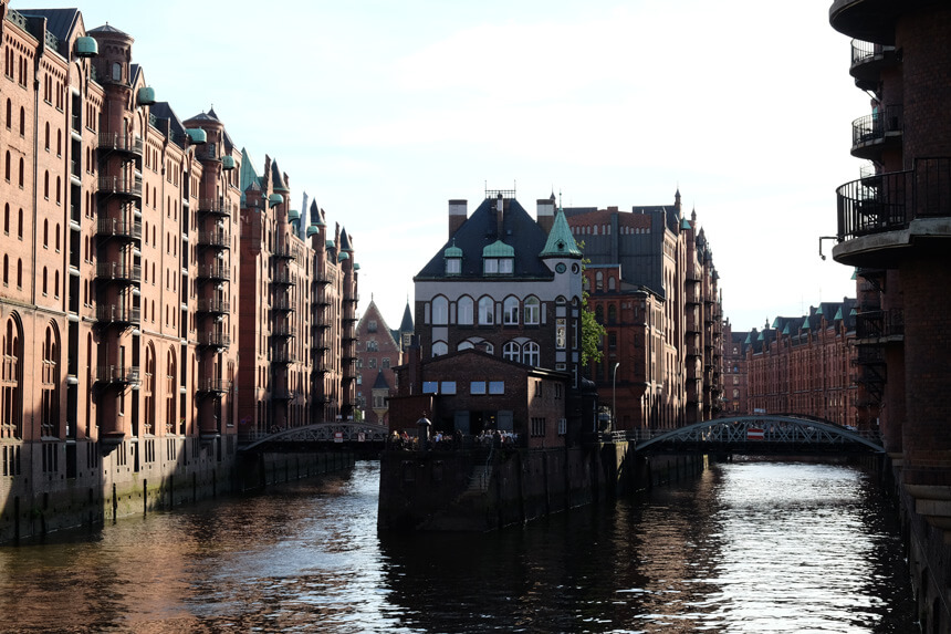 The Speicherstadt is Hamburg's UNESCO-listed warehouse district. This is the view from the Poggenmühlen-Brücke.
