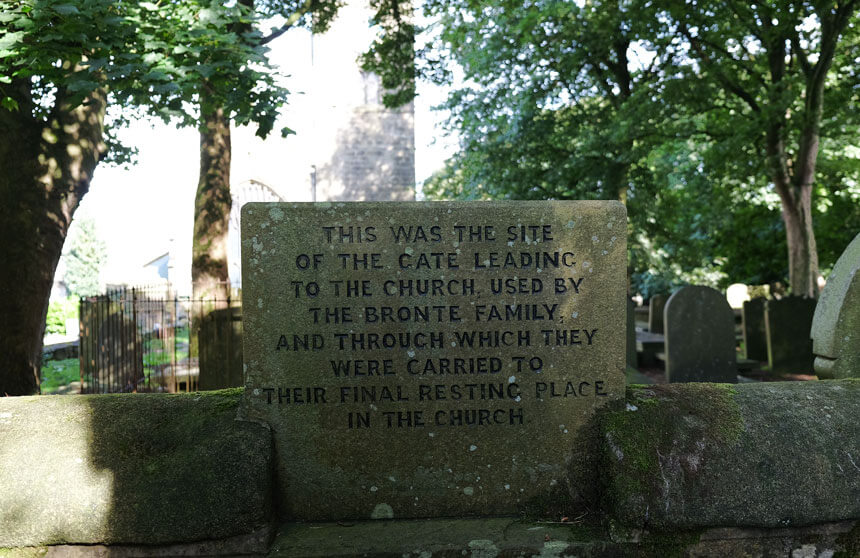 The site of the old gate which led from the Parsonage to Haworth Church