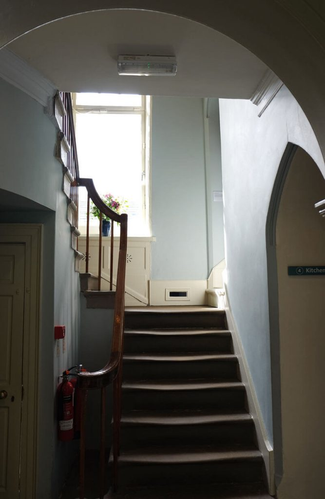 The first thing you see when you step inside the Brontë Parsonage Museum is the worn stairs. It's very atmospheric.