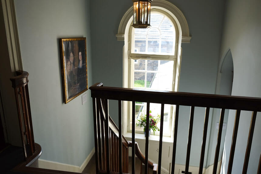 Looking down the stairs. The Parsonage is a beautiful house but many visitors are surprised by how small the house was during the Brontës' time in Haworth.