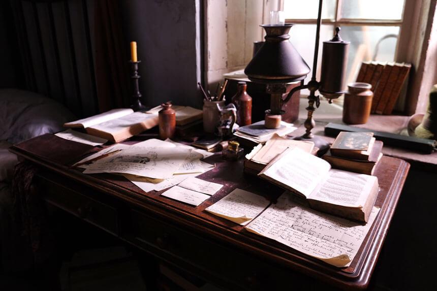 The desk in Patrick Brontë's bedroom