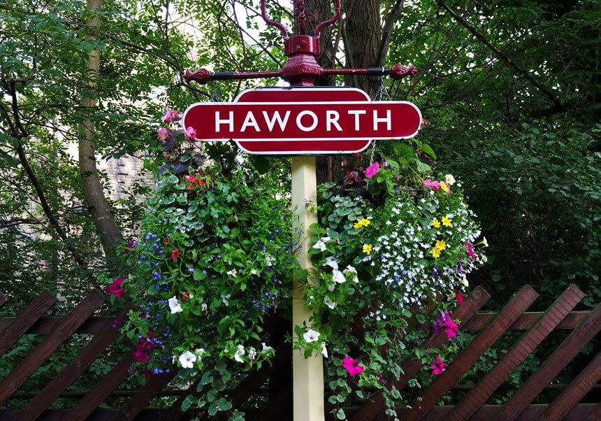 Hanging baskets at Haworth station