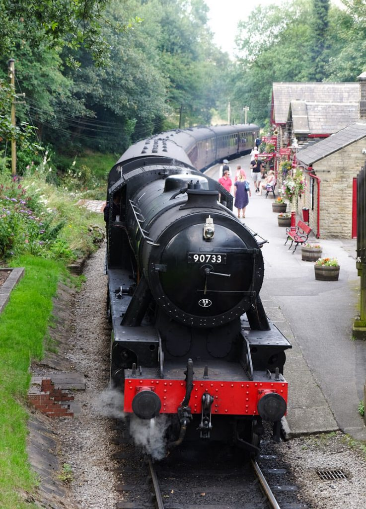 A steam train at Haworth station on the Keighley and Worth Valley railway