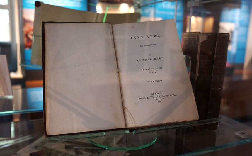 An edition of Charlotte's iconic novel Jane Eyre, published under the male pseudonym Currer Bell