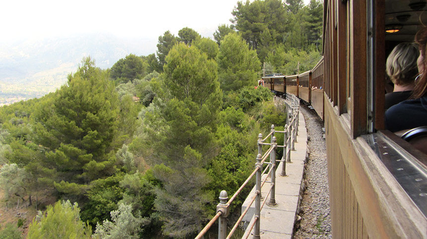 The heritage railway from Sóller to Palma on Mallorca, Spain