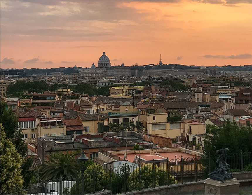 A sunset view across Rome from the Villa Borghese gardens