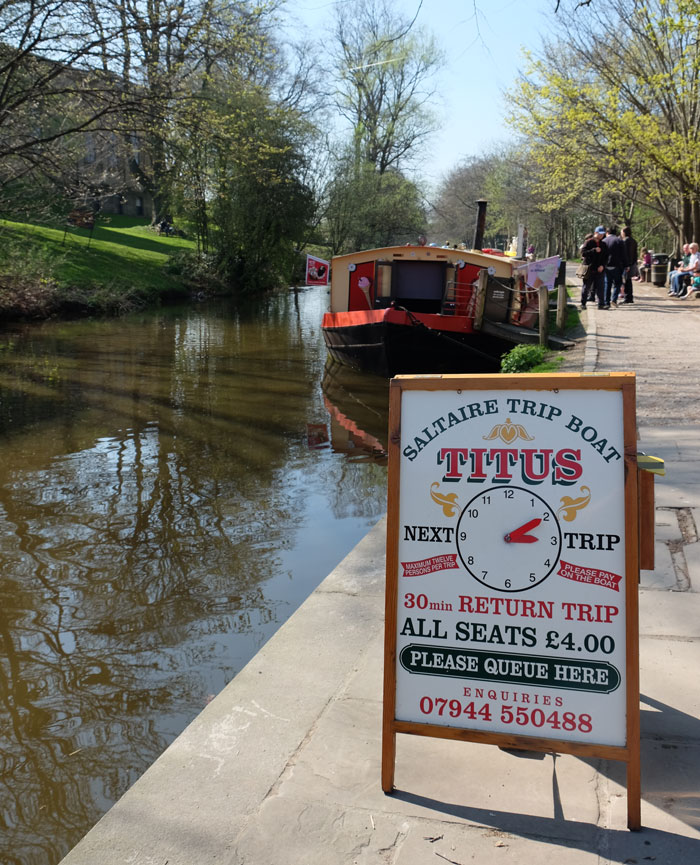 Visitors to Saltaire can take a canal boat trip along the Leeds Liverpool canal