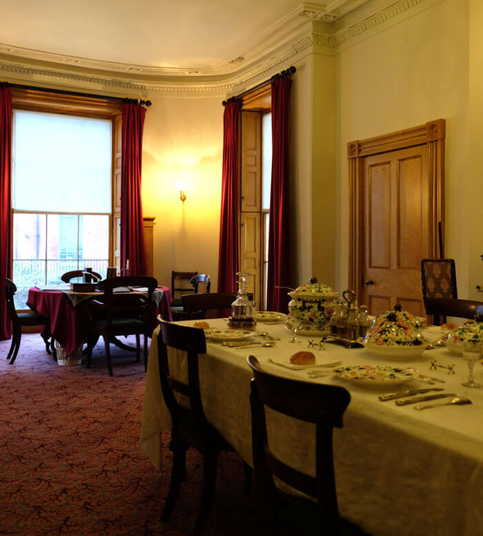 The dining room is warm and welcoming