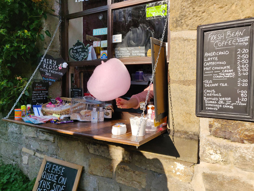 The Old Dairy Tearoom's takeaway hatch and their special fairy floss
