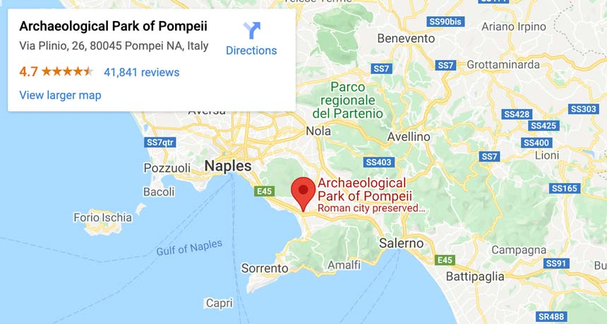 A map of Pompeii is halfway between Naples and Sorrento, and not far from the Amalfi Coast, making it an easy day trip destination