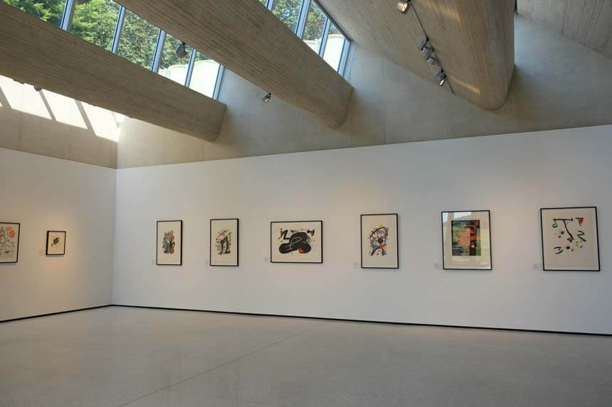 The light, airy gallery at The Weston. When we visited there was an exhibition of Miro prints on show.
